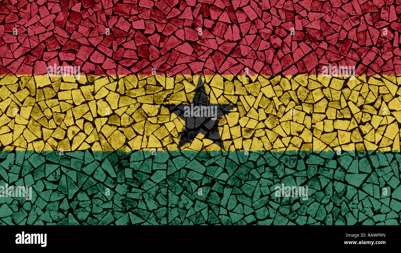 Mosaic Tiles Painting of Ghana Flag, Background Texture - Stock Image