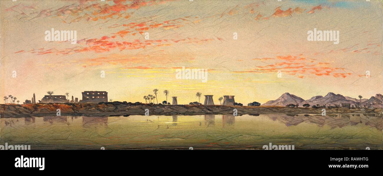 Pylons at Karnak, the Theban Mountains in the Distance, Edward William Cooke, 1811-1880, British. Reimagined - Stock Image