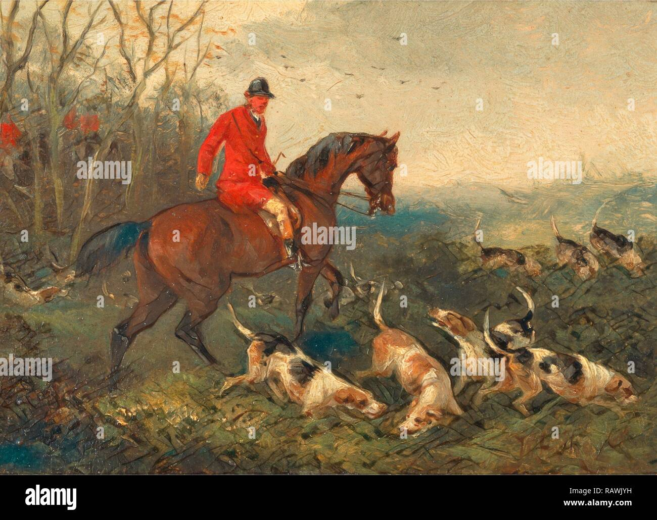 Foxhunting: At Cover Signed and dated in brown paint, lower right: 'WJ Shayer | 6[?]', William J. Shayer, 1811-c.1885 reimagined - Stock Image