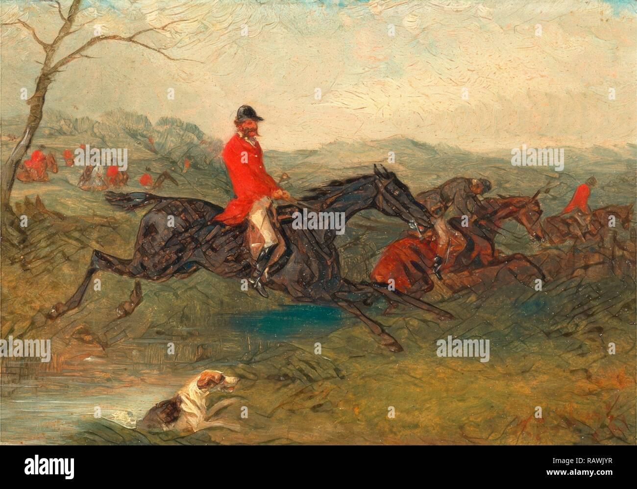 Foxhunting: Clearing a Brook Signed and dated in red paint, lower right: 'WJ Shayer | 63', William J. Shayer, 1811-c. reimagined - Stock Image
