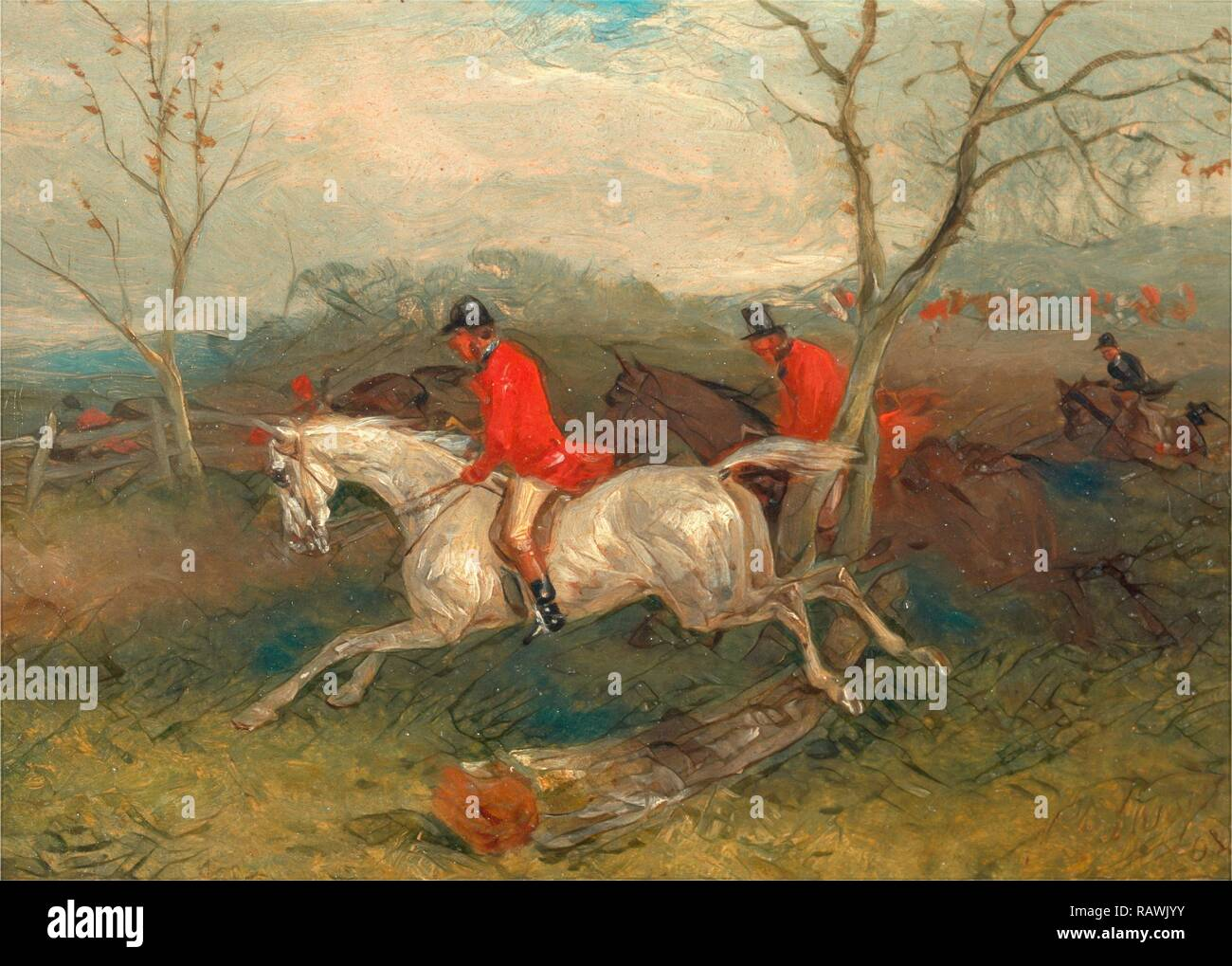Foxhunting: Coming to a Fence (Full Cry) Signed and dated in brown paint, lower right: 'WJ Shayer | 63.', William J reimagined - Stock Image