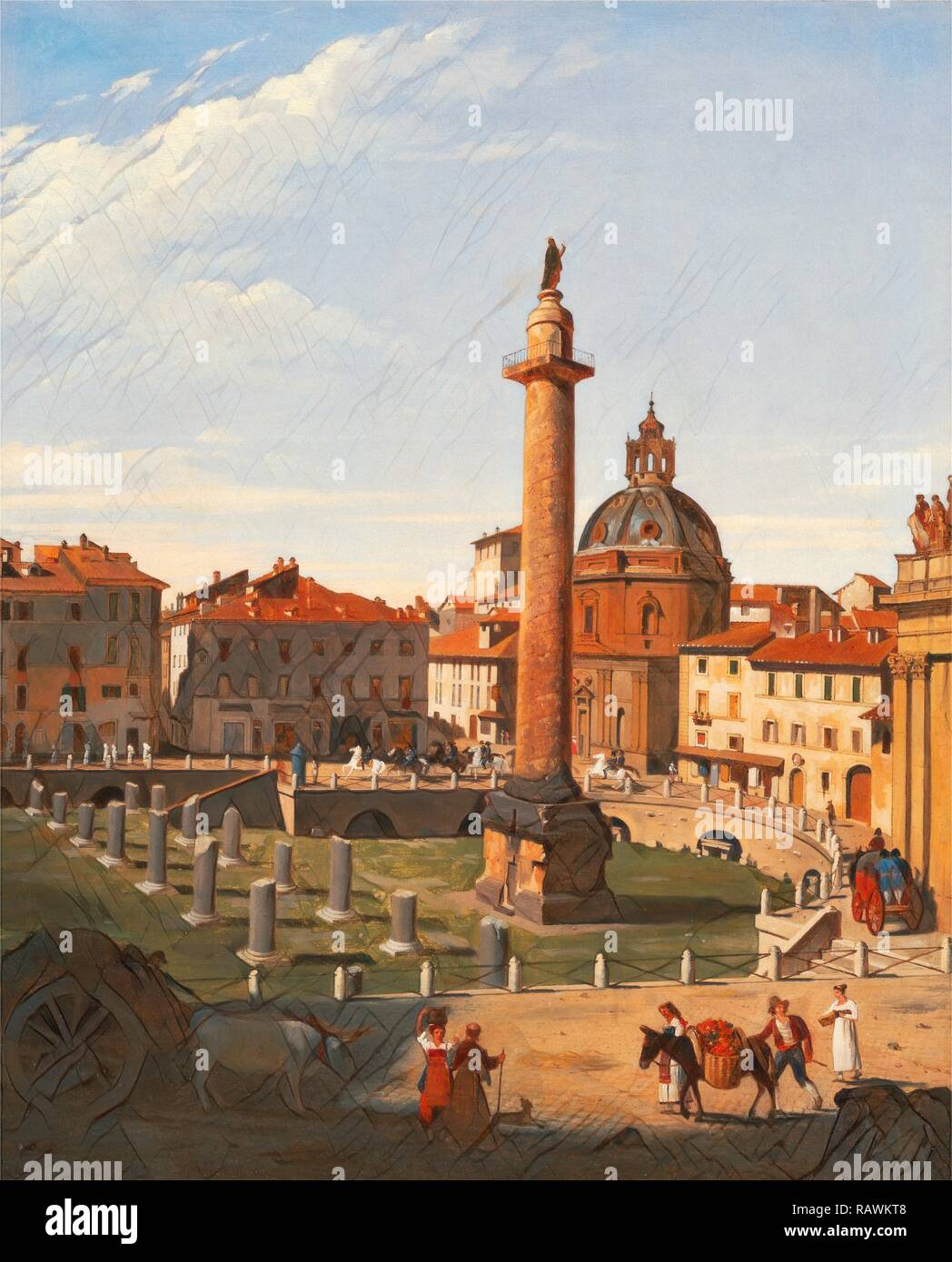 A View of Trajan's Forum, Rome, Italy Charles Lock Eastlake, 1793-1865, British. Reimagined by Gibon. Classic art reimagined - Stock Image