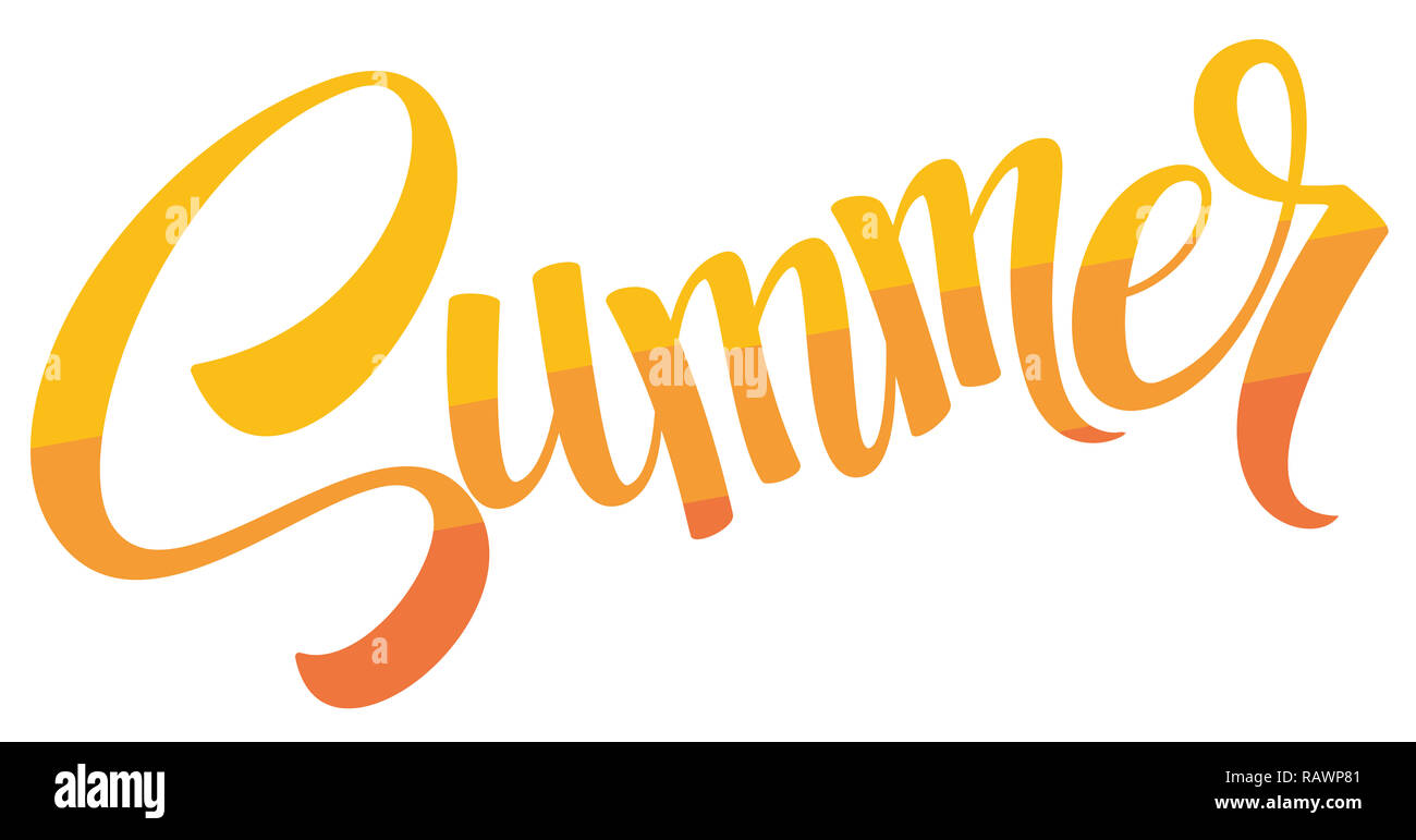 summer text sunny hot vacation holiday illustration - Stock Image