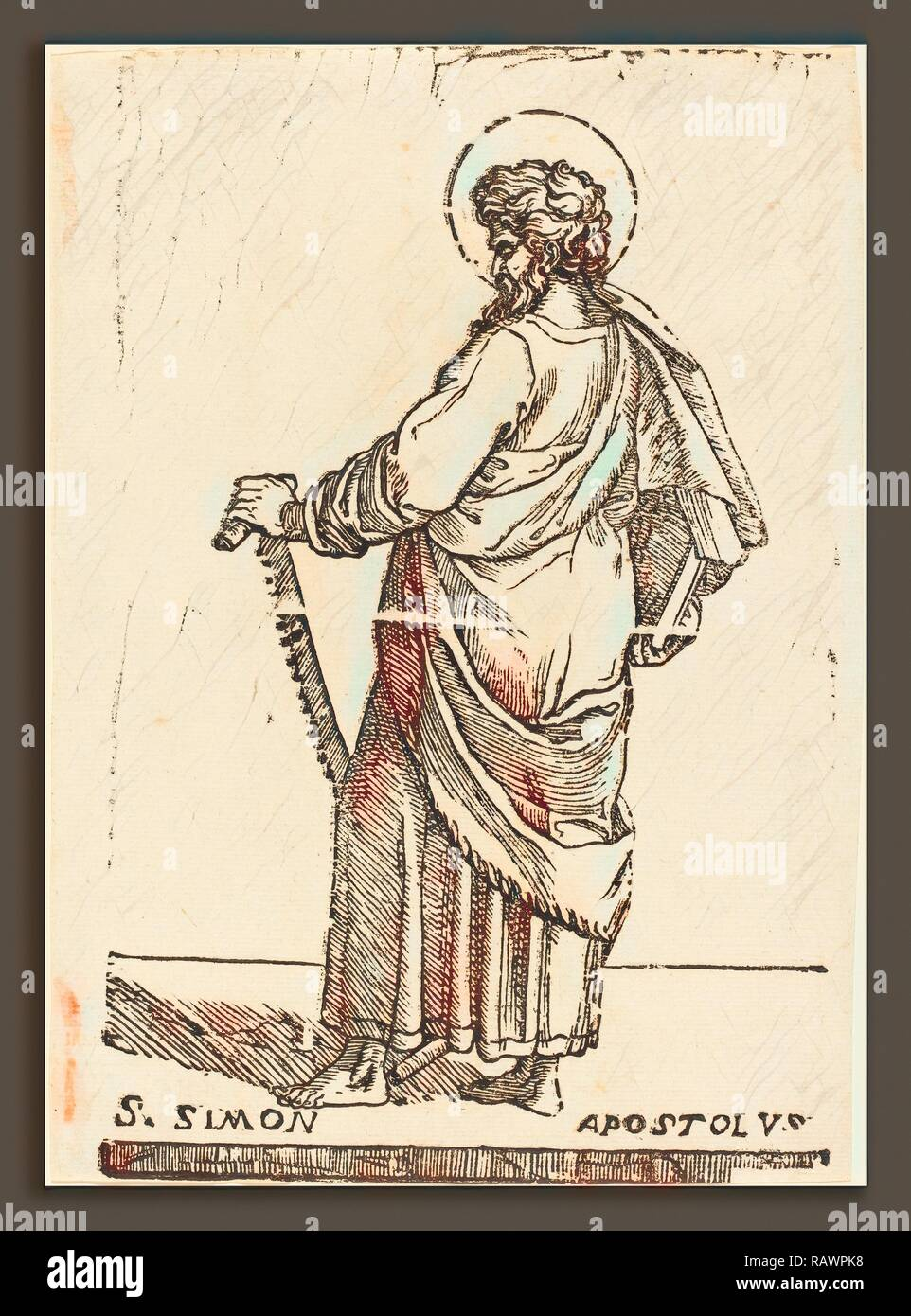 Jacques Stella (French, 1596 - 1657), Saint Simon, woodcut. Reimagined by Gibon. Classic art with a modern twist reimagined - Stock Image