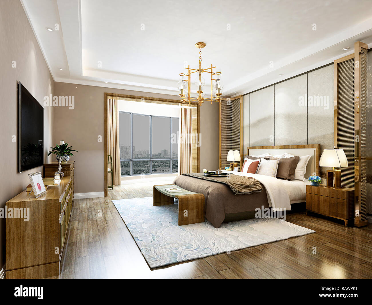 3d Render Modern Luxury Hotel Room Stock Photo Alamy