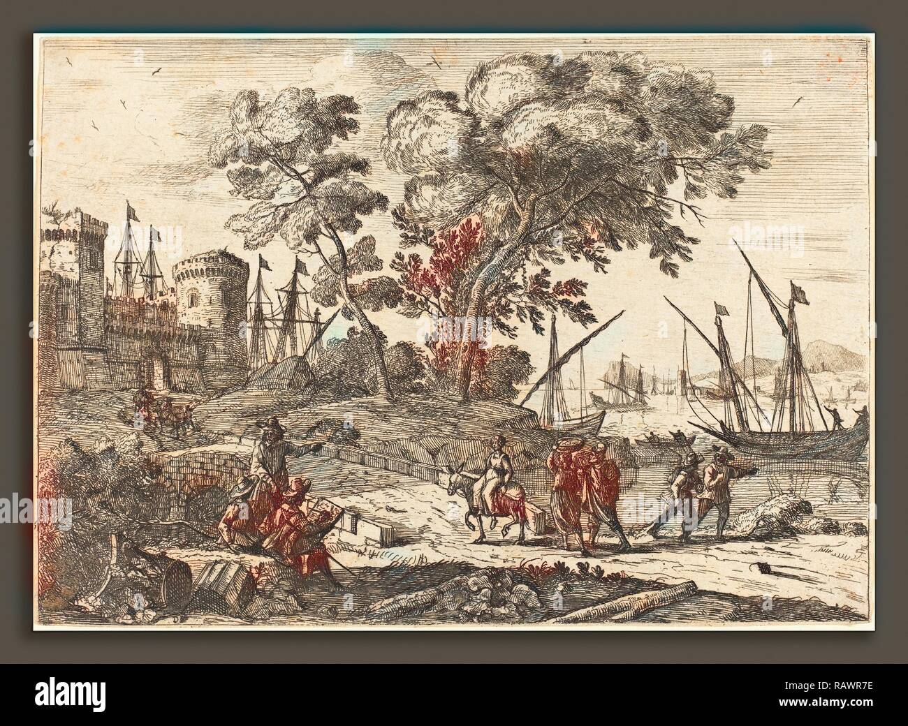 Claude Lorrain (French, 1604-1605 - 1682), Coast Scene with an Artist (Le dessinateur), c. 1638-1641, etching reimagined - Stock Image