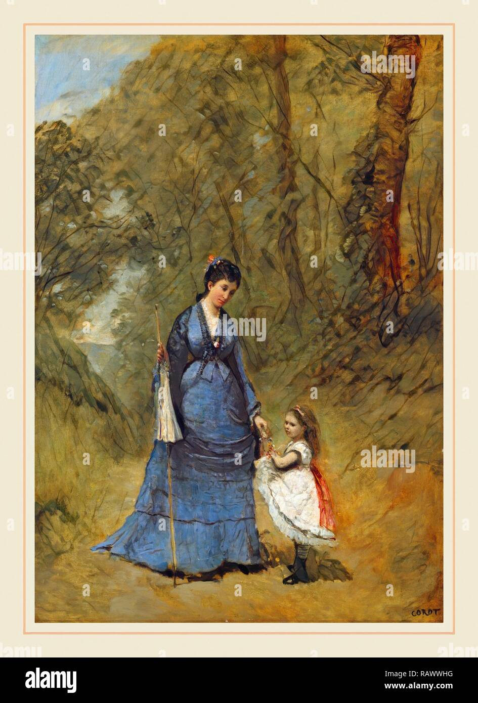Jean-Baptiste-Camille Corot, Madame Stumpf and Her Daughter, French, 1796-1875, 1872, oil on canvas. Reimagined Stock Photo