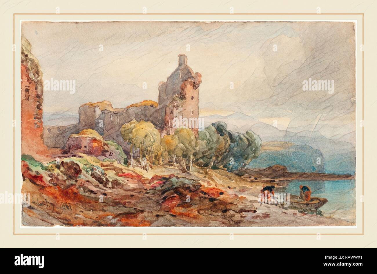 William Leighton Leitch, British (1804-1883), A Ruined Castle on a Lake, 1881, watercolor over graphite on wove paper reimagined - Stock Image