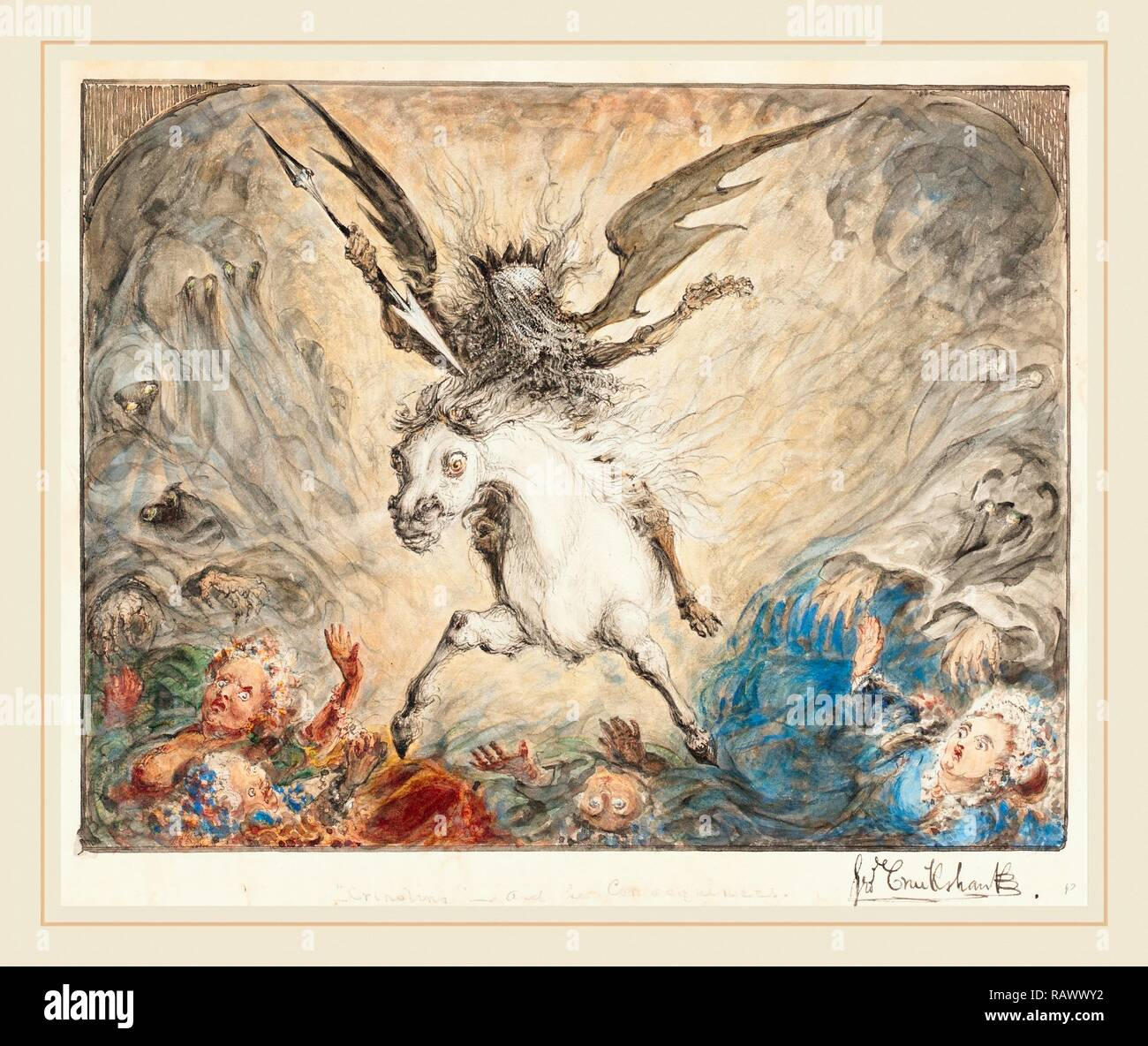 George Cruikshank, British (1792-1878), 'Crinolina'-and the Consequences [recto], 1865, pen and black ink with reimagined - Stock Image