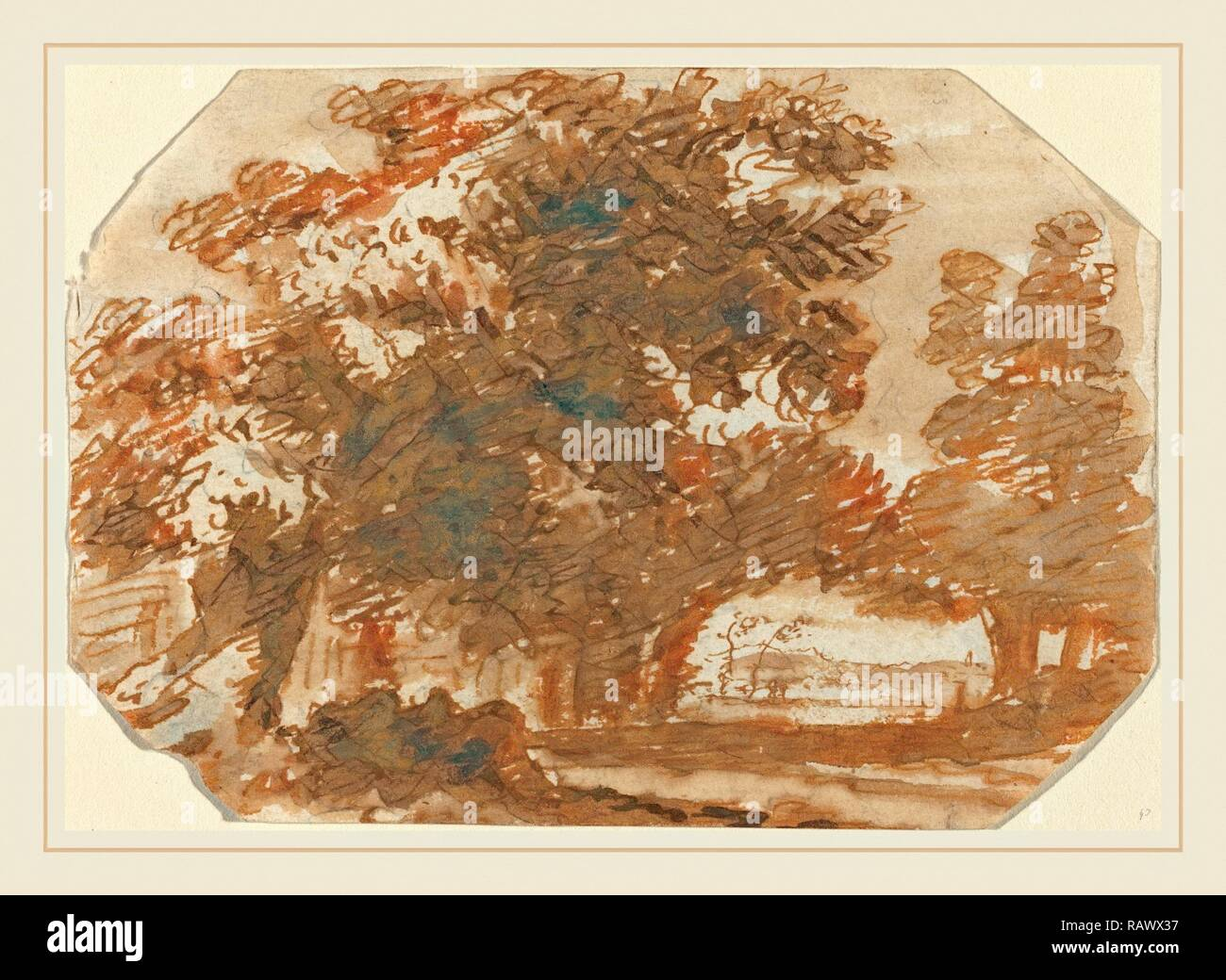 Claude Lorrain, French (1604-1605-1682), Grove of Trees, c. 1640, pen and brown ink with gray wash on laid paper reimagined - Stock Image