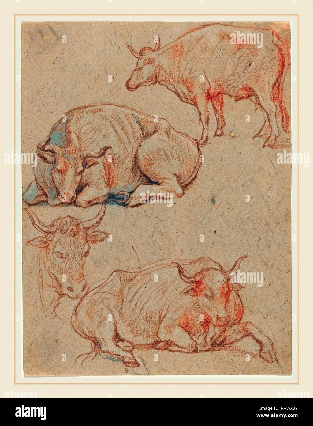 Claude Lorrain, French (1604-1605-1682), Four Cows, red and black chalks with gray wash on laid paper. Reimagined - Stock Image