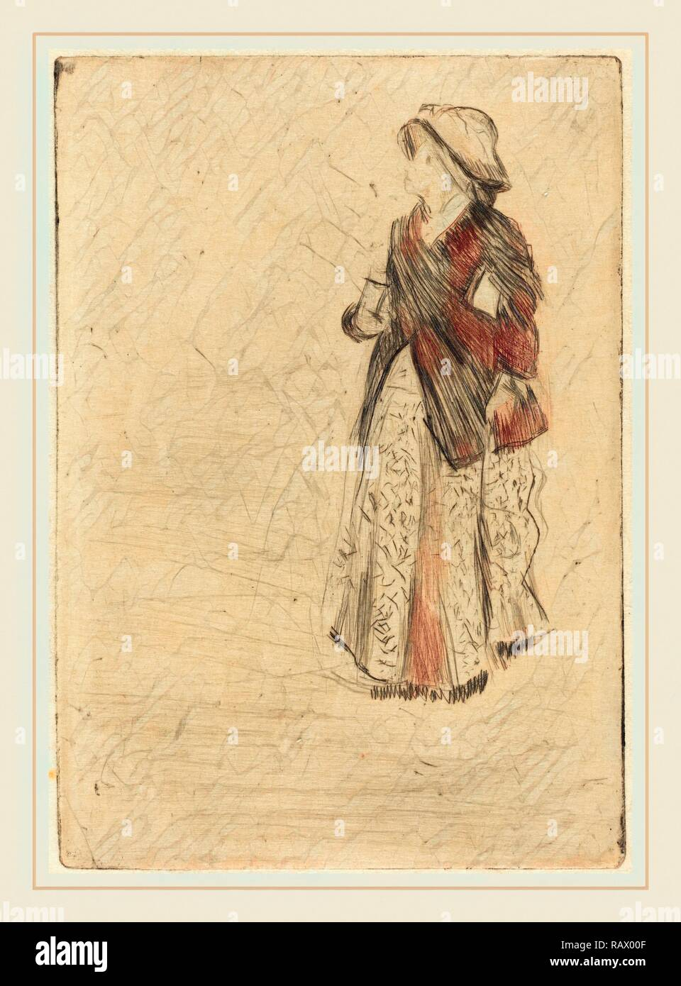 Edgar Degas, French (1834-1917), The Actress Ellen Andrée, 1879, drypoint (electric crayon). Reimagined - Stock Image