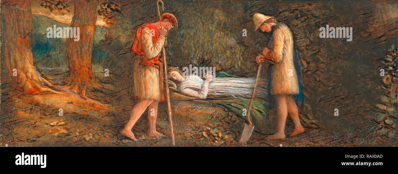Imogen and the Shepherds, 'Cymbeline,' Act IV, scene II Cymbeline Signed, black paint, lower left: 'J.Smetham reimagined - Stock Image