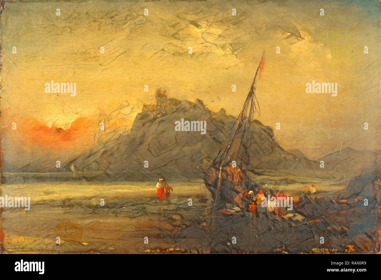 Beach Scene, Attributed to John Sell Cotman, 1782-1842, British. Reimagined by Gibon. Classic art with a modern twist reimagined - Stock Image