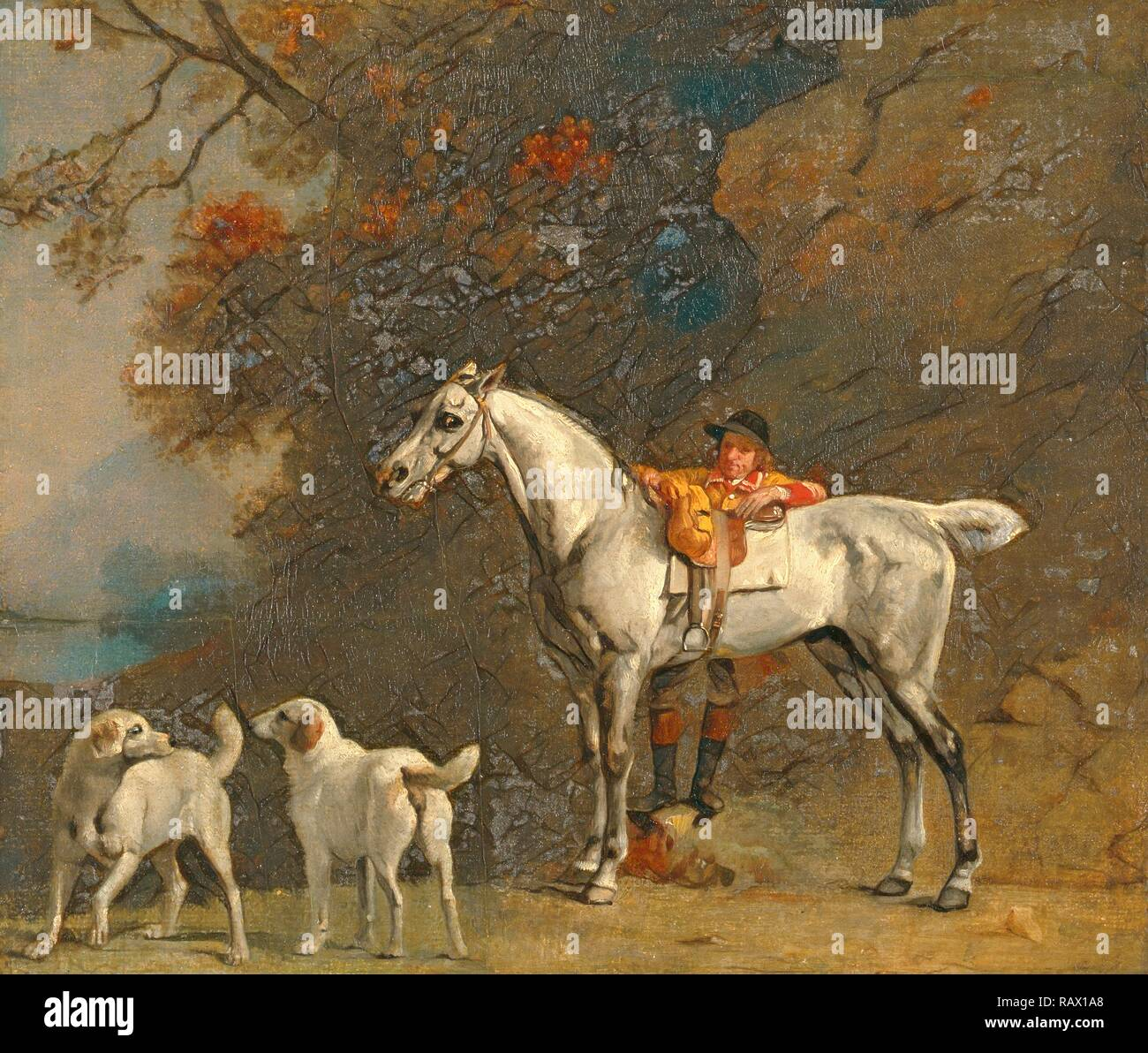 Studies for or after 'The 3rd Duke of Richmond with the Charleton Hunt' Huntsman with a Grey Hunter and Two Foxhounds reimagined - Stock Image