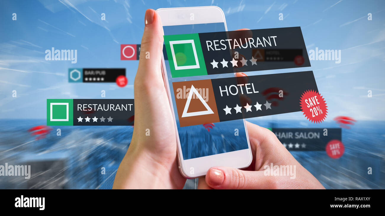 Composite image of smartphone with applications Stock Photo