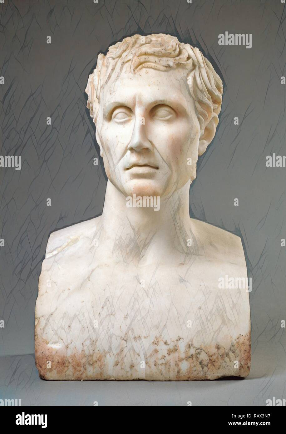 Herm of Menander, Unknown, Rome, Italy, Lazio, Europe, 100 - 150, Marble, Object: H: 51.5 x W: 32 x D: 22.6 cm (H: 20 reimagined - Stock Image