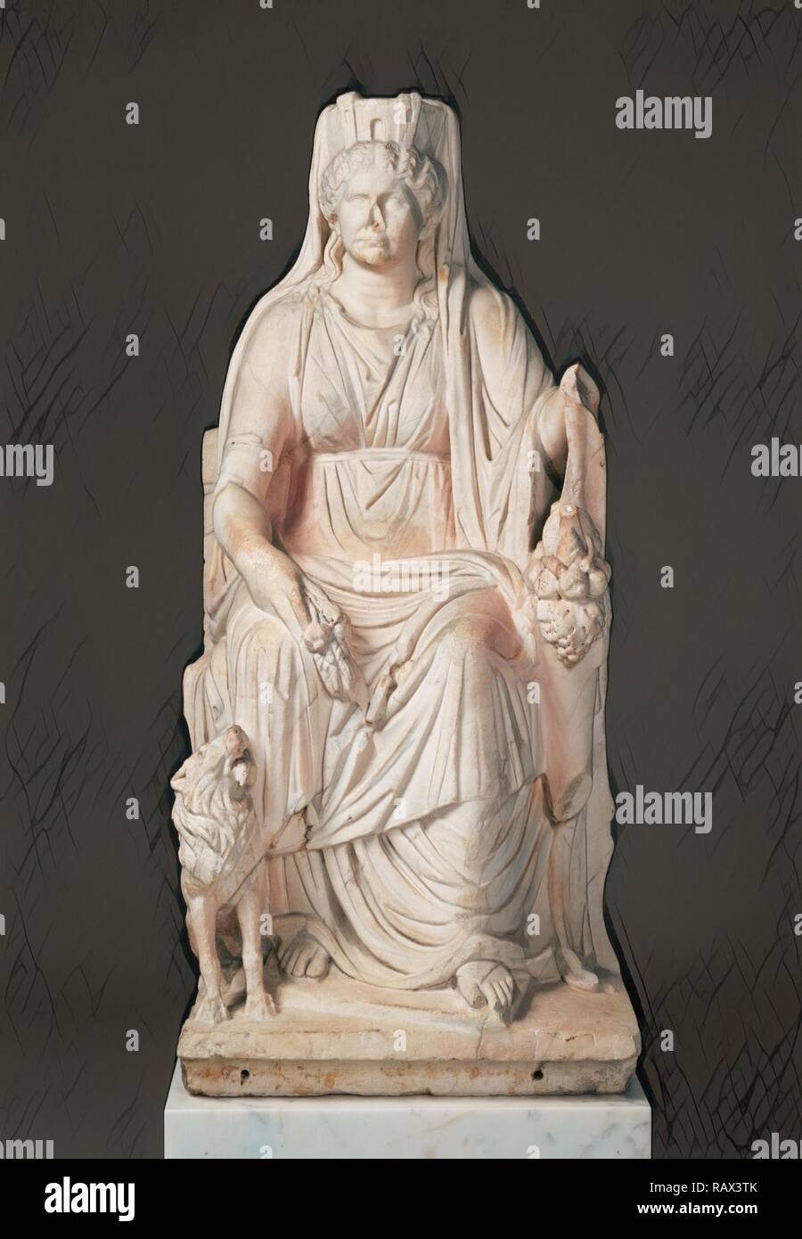 Statue of a Seated Cybele with the Portrait Head of her Priestess, Unknown, Roman Empire, about 50, Marble, Object: H reimagined - Stock Image