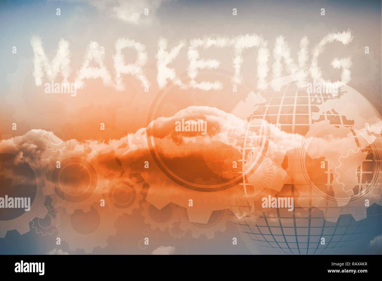 Clouds spelling out marketing - Stock Image
