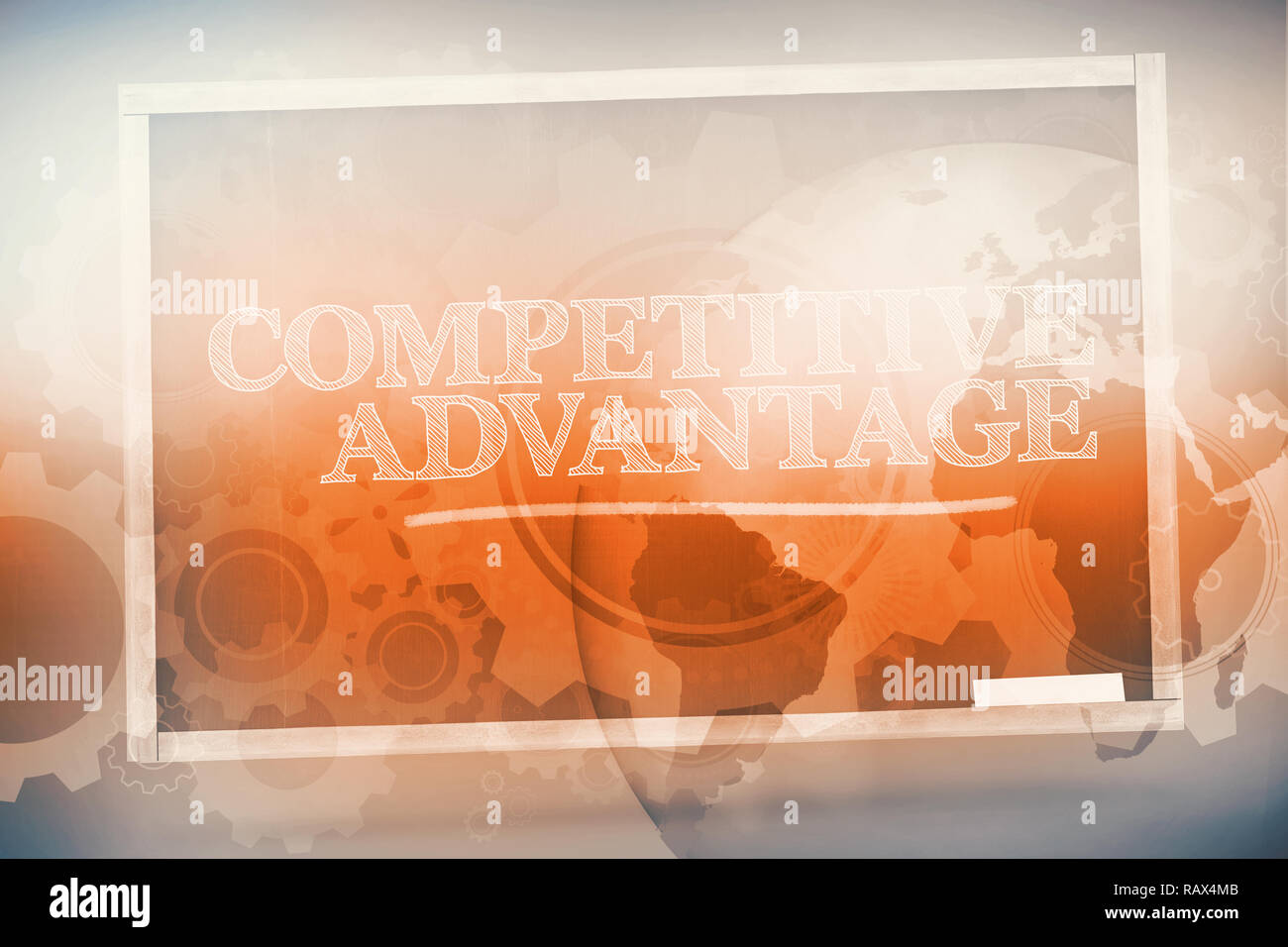 Competitive advantage written on a chalkboard - Stock Image