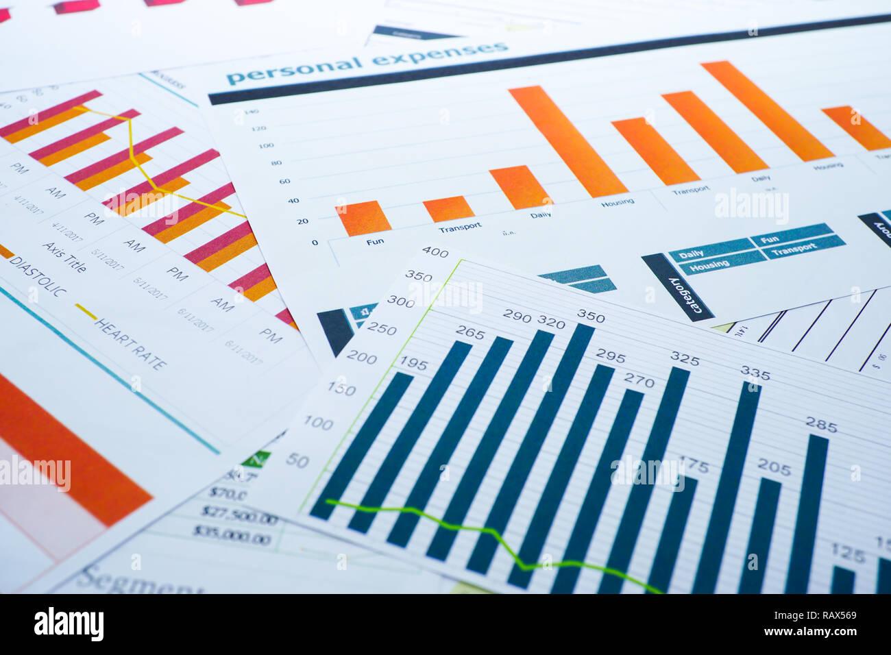 Charts Graphs spreadsheet paper  Financial development