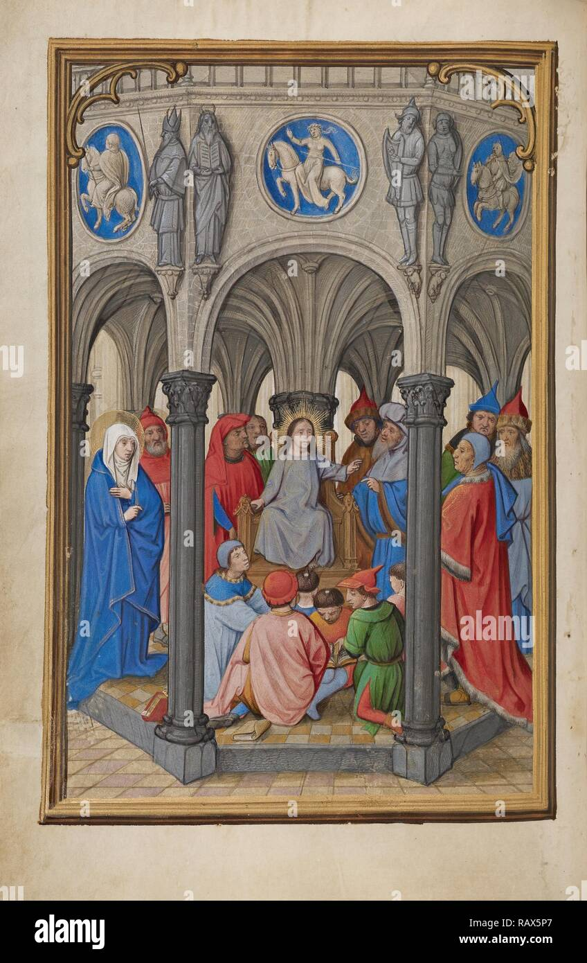Jesus Among the Doctors, Simon Bening, Flemish, about 1483 - 1561, Bruges, Belgium, Europe, about 1525 - 1530 reimagined - Stock Image