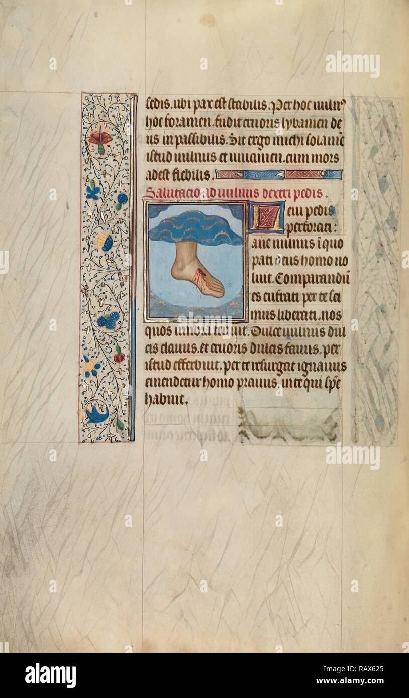 Christ's Left Foot with Wound, Willem Vrelant, Flemish, died 1481, active 1454 - 1481, Bruges, Belgium, Europe, early reimagined - Stock Image