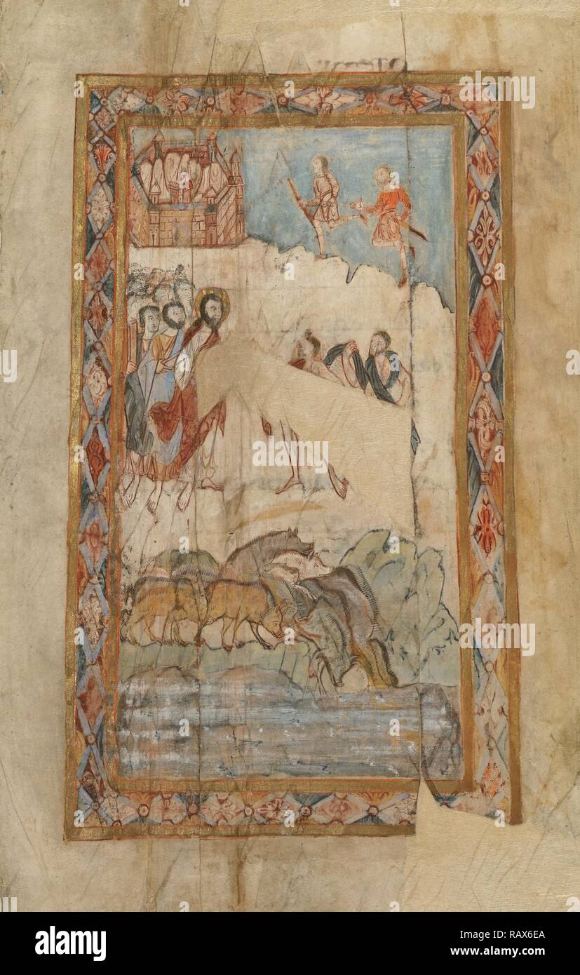 The Miracle of the Gadarene Swine, Unknown, Canterbury (?), England, Europe, about 1000, Tempera colors, gold leaf reimagined - Stock Image