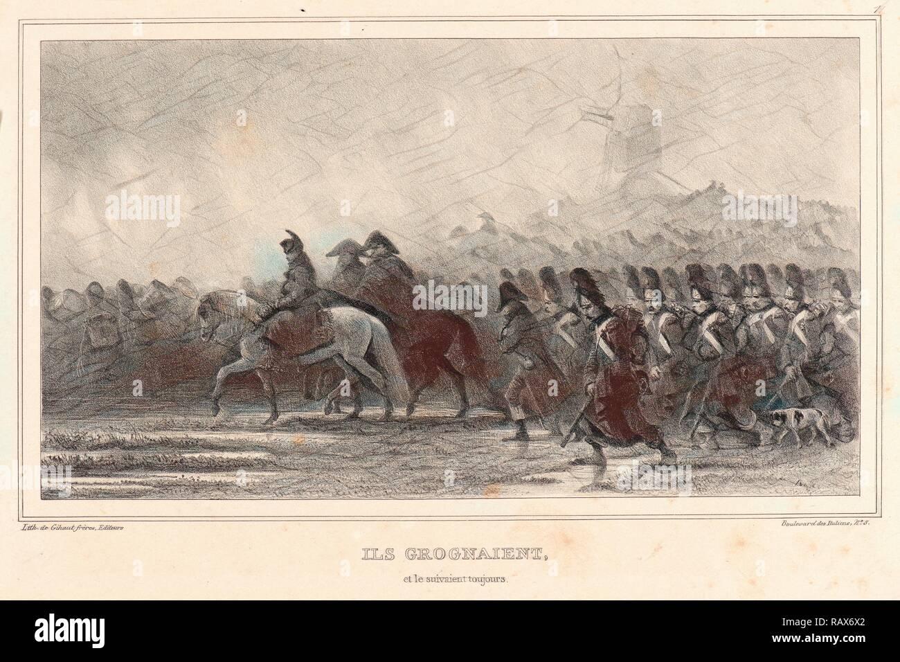 Auguste Raffet (French, 1804 - 1860). Ils grognaient, et le suivaient toujours!, 1836. Lithograph. . Reimagined - Stock Image