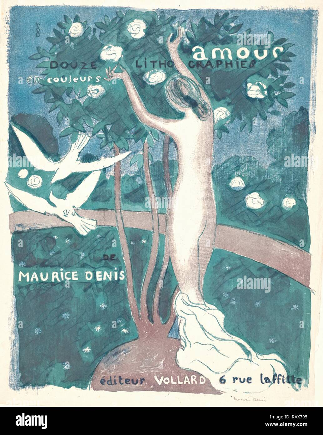 Maurice Denis (French, 1870 - 1943). Love (Amour), 1892-1899. Lithograph printed in three colors (grey, green, and reimagined - Stock Image