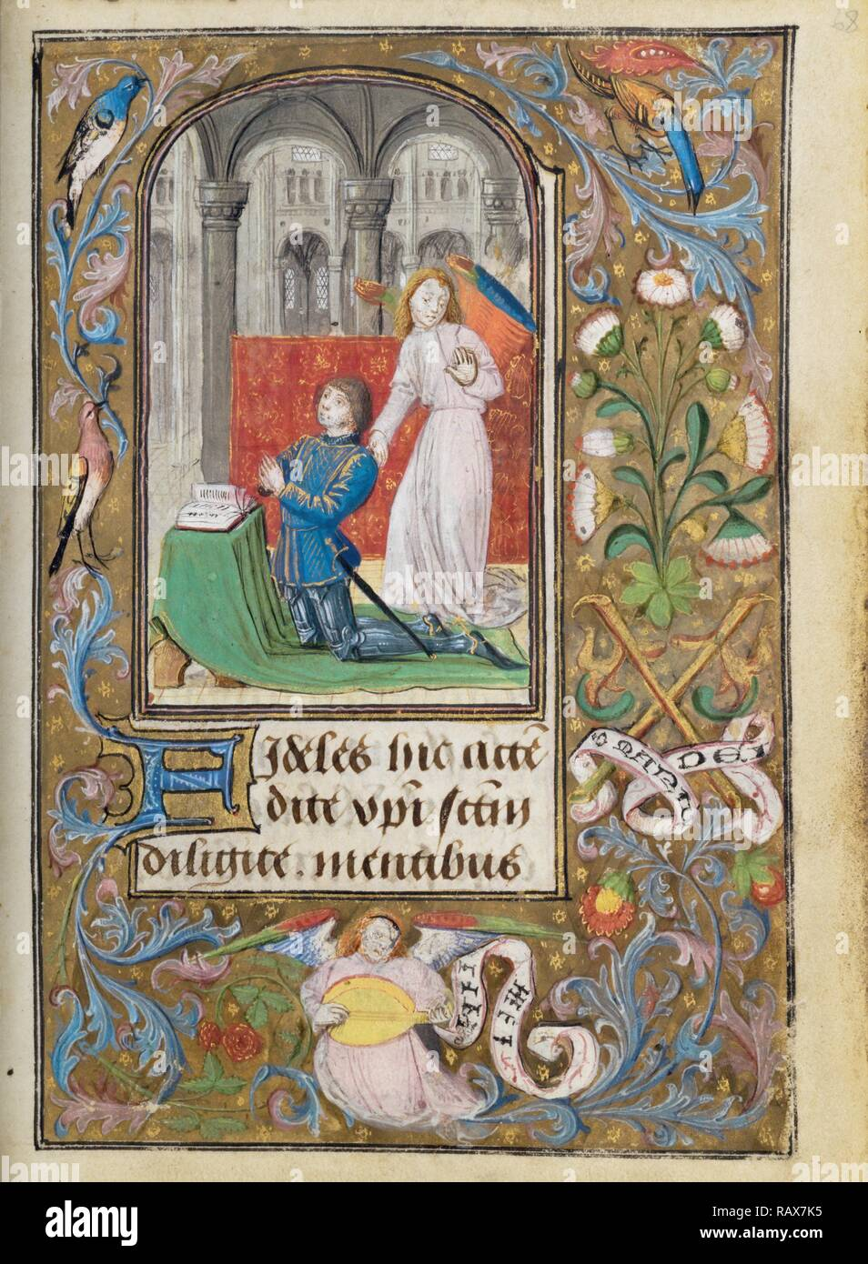 Charles the Bold Presented by an Angel, Lieven van Lathem, Flemish, about 1430 - 1493, active 1454 - 1493, Ghent ( reimagined Stock Photo