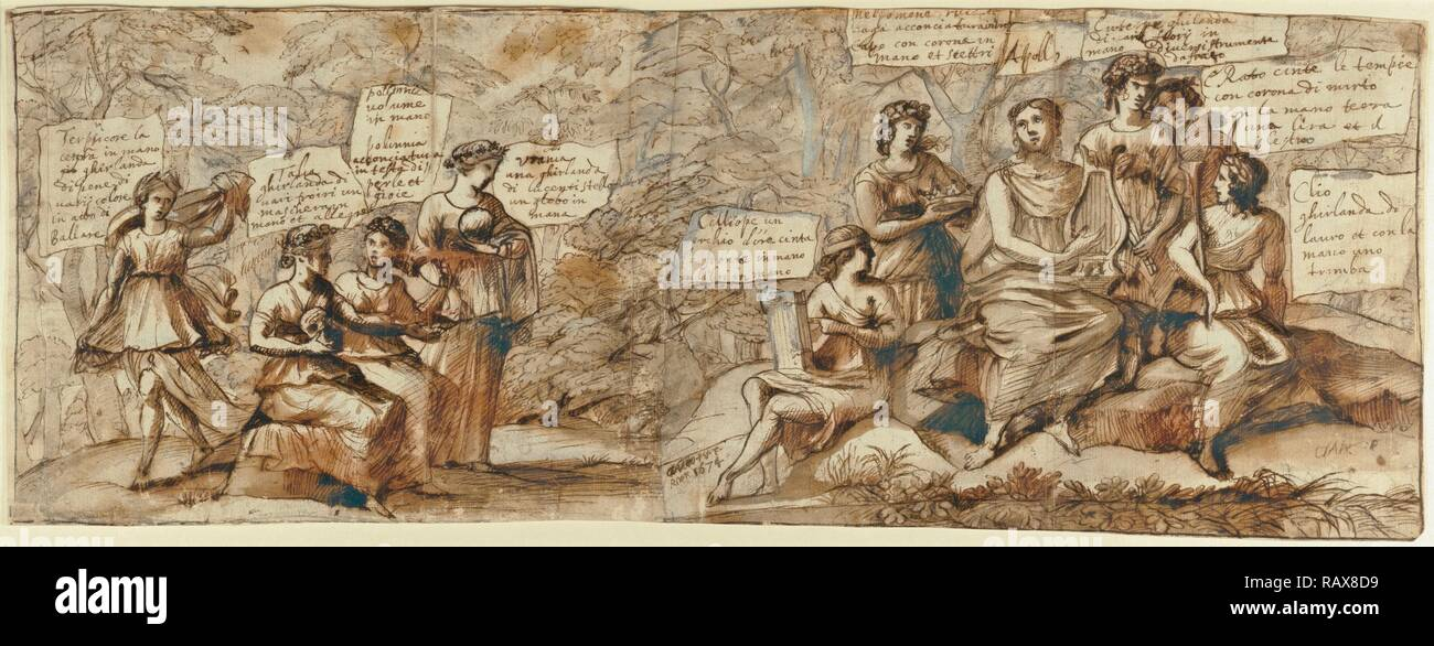 Apollo and the Muses, Claude Lorrain (Claude Gellée), French, 1604 or 1605 ? - 1682, France, Europe, 1674, Pen and reimagined - Stock Image