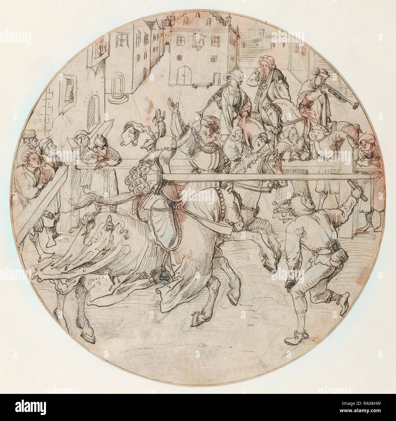 Tournament Scene, Jörg Breu the Elder, German, about 1475/1476 - 1537, Germany, Europe, about 1510 - 1515, Pen and reimagined - Stock Image