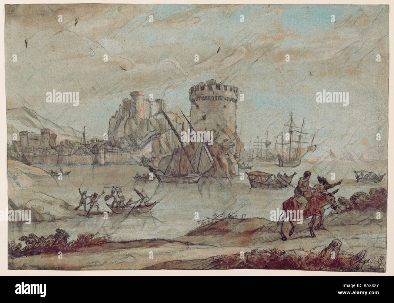Figures in a Landscape before a Harbor, Claude Lorrain (Claude Gellée), French, 1604 or 1605 ? - 1682, France, Europe reimagined - Stock Image