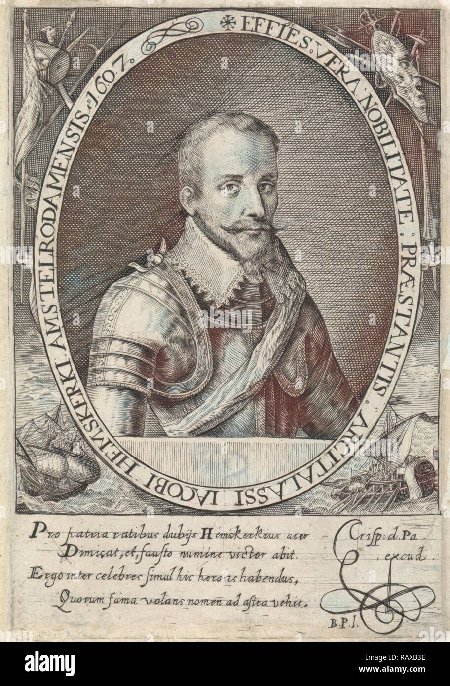 Portrait of Jacob van Heemskerck, Crispijn van de Passe (I), Monogrammist BPI, 1607. Reimagined by Gibon. Classic art reimagined - Stock Image