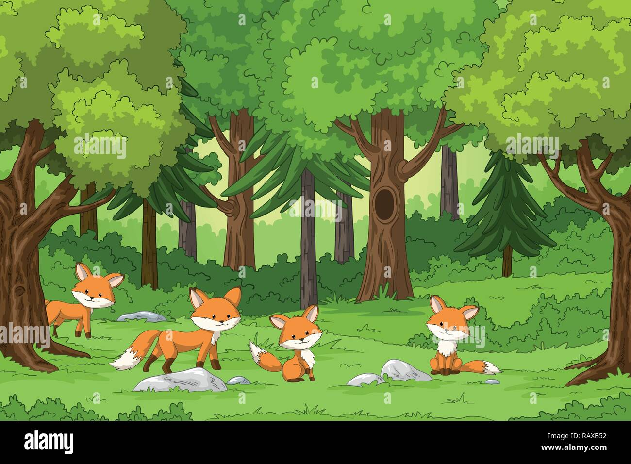 Cute foxes in the forest, hand draw illustration - Stock Vector