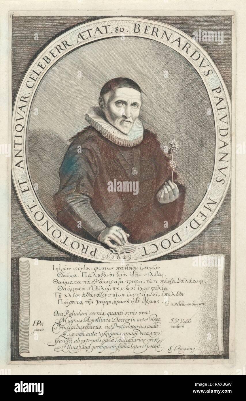 Portrait Bernard Paludanus, print maker: Jan van de Velde II, Hendrik Gerritsz. Pot, G. à Nieuwenhuysen, 1629 reimagined - Stock Image