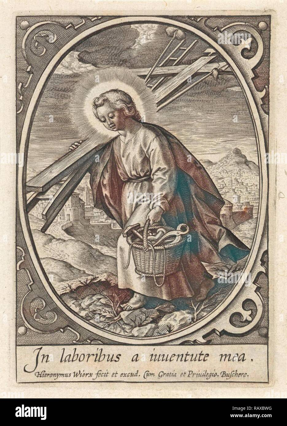 Christ child carries the passion equipment, Hieronymus Wierix, 1563 - before 1619. Reimagined by Gibon. Classic art reimagined Stock Photo