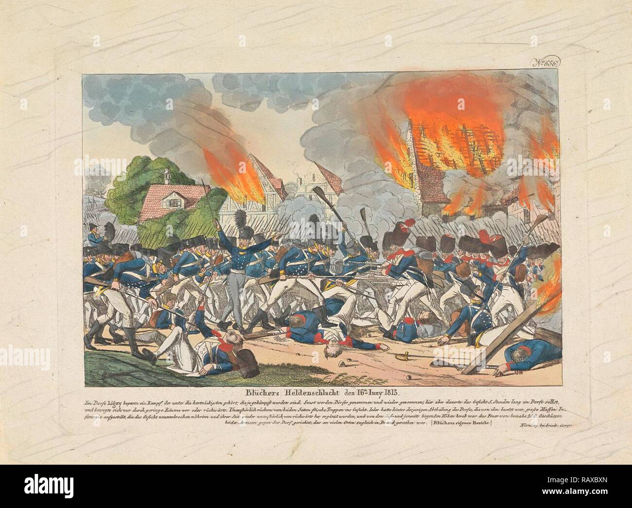 Battle of Ligny, 1815, Belgium, Anonymous, Friedrich Campe, 1815. Reimagined by Gibon. Classic art with a modern reimagined - Stock Image