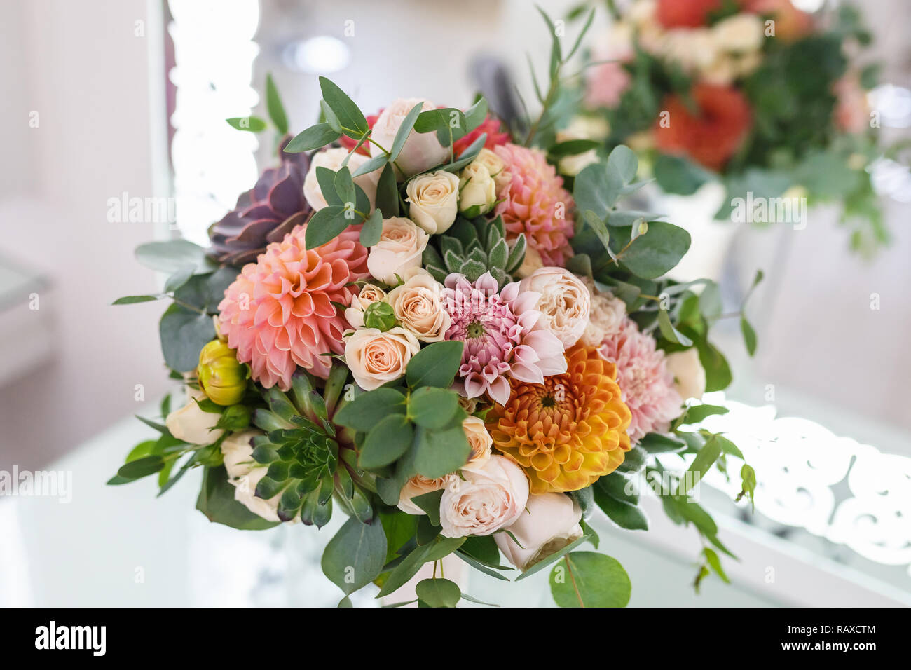 Bright Wedding Bouquet Of Summer Dahlias And Roses Stock Photo Alamy