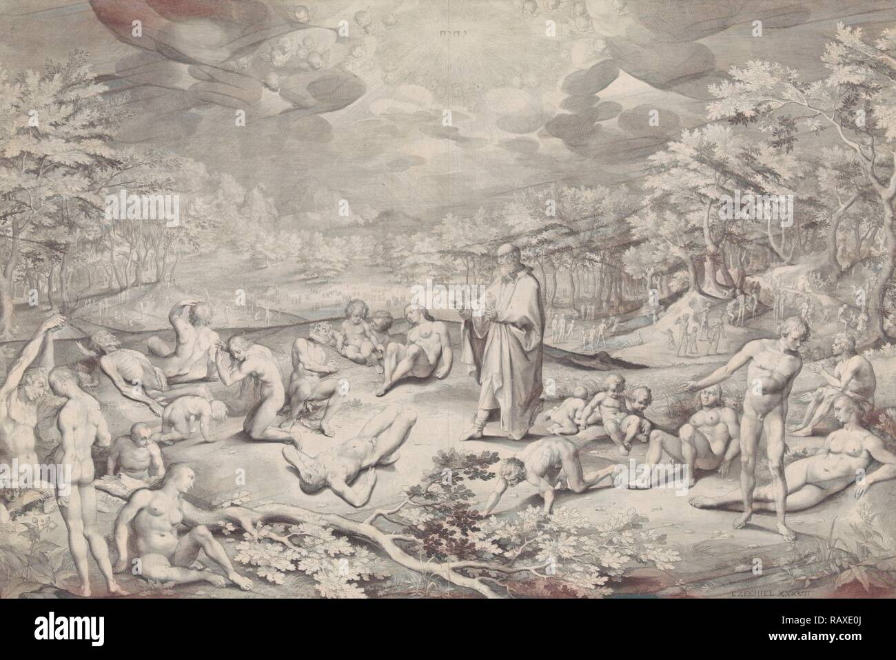 Vision of Ezekiel across the valley of bones, Nicolaes de Bruyn, 1606. Reimagined by Gibon. Classic art with a modern reimagined - Stock Image