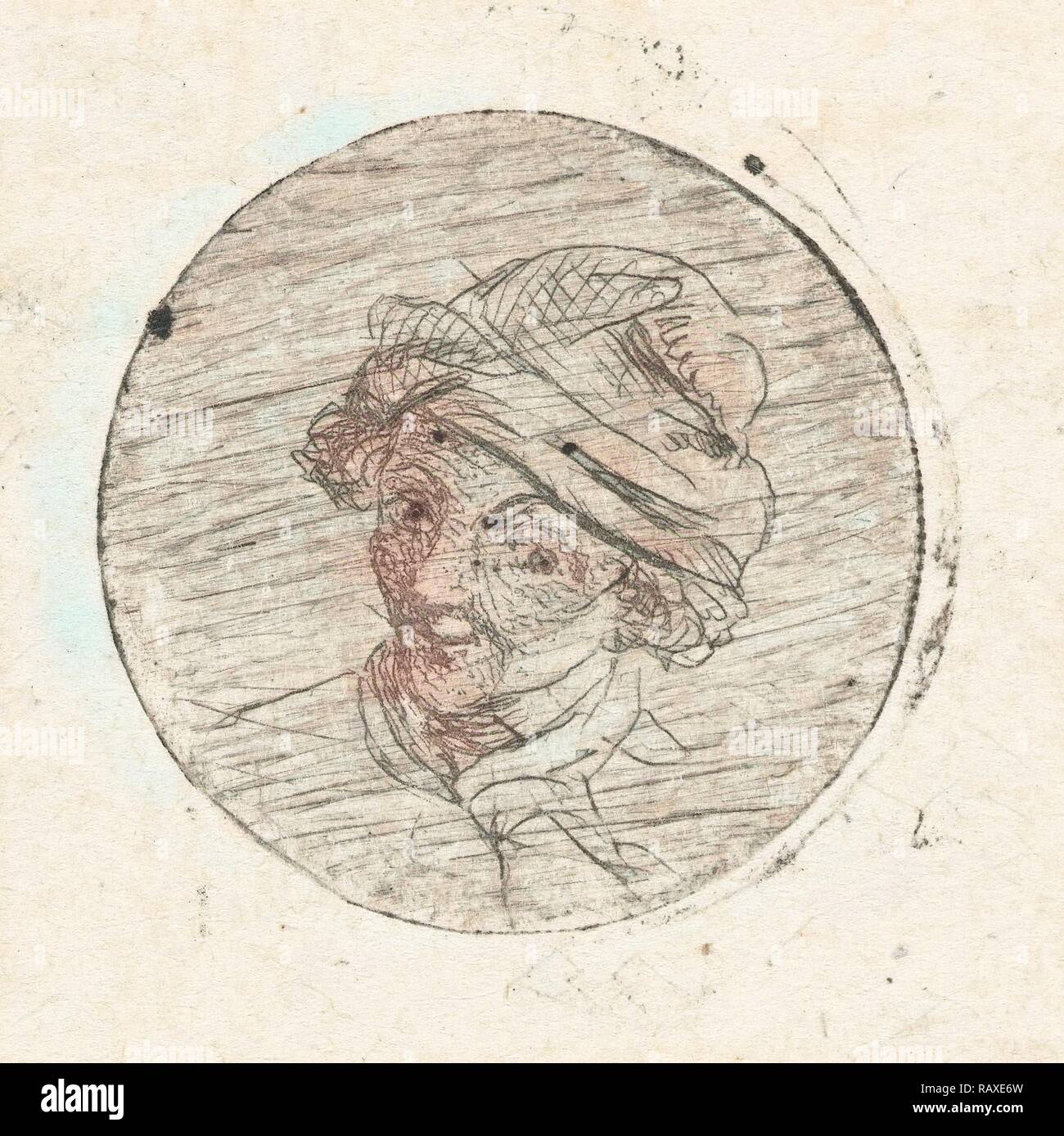 Mans Head with cap, print maker: Marie Lambertine Coclers, 1776 - 1815. Reimagined by Gibon. Classic art with a reimagined - Stock Image