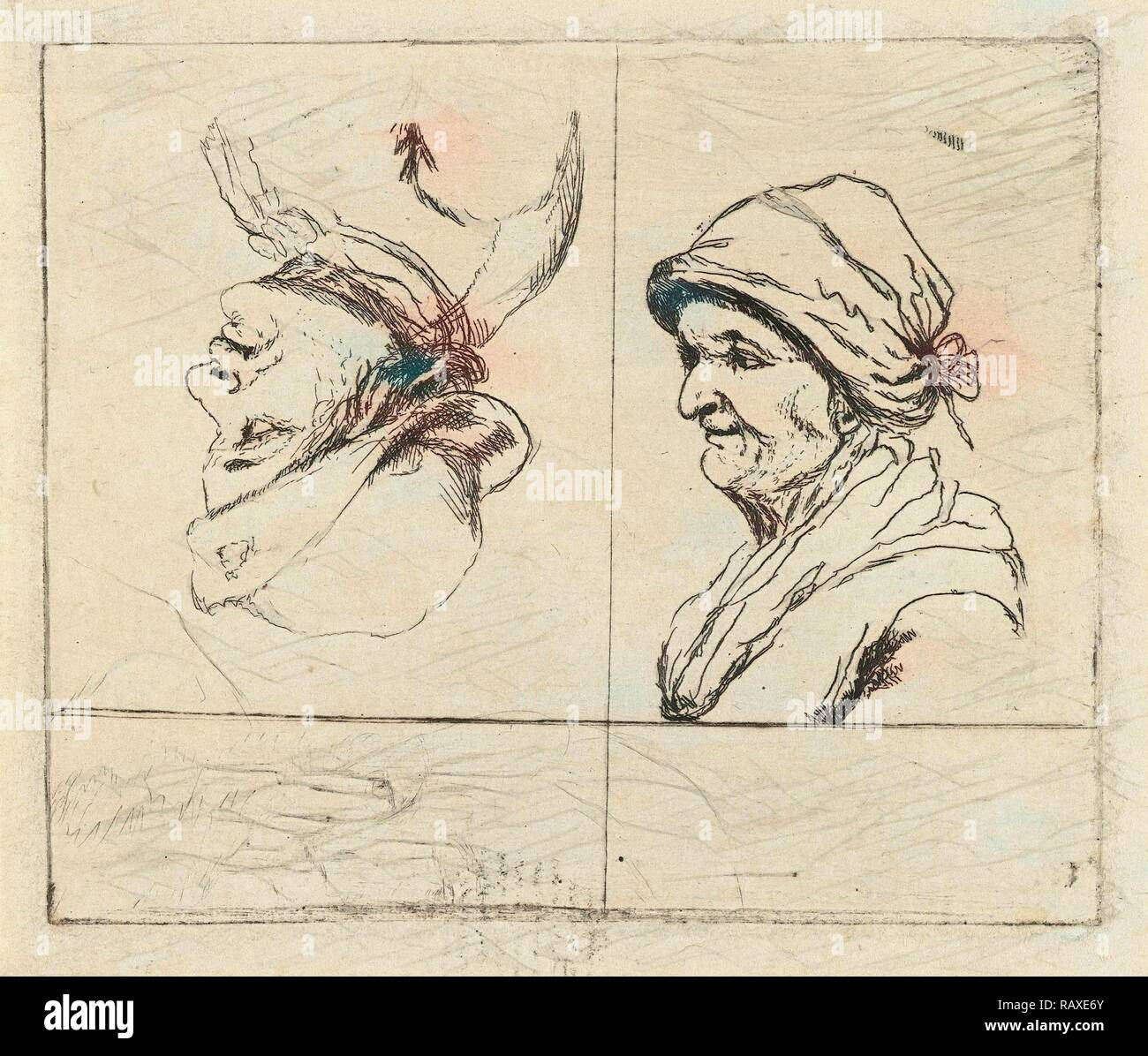 Study Sheet with two portrait busts, Marie Lambertine Coclers, 1776 - 1815. Reimagined by Gibon. Classic art with a reimagined - Stock Image