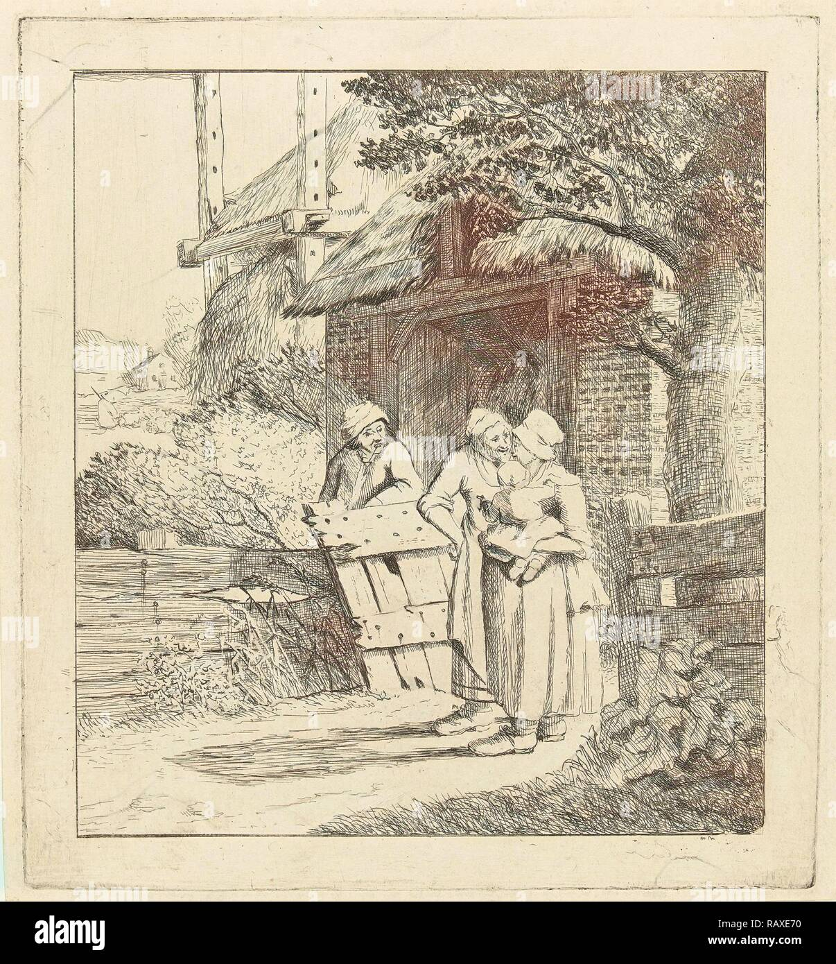 Two women and a man on a farm, print maker: Marie Lambertine Coclers, 1776 - 1815. Reimagined by Gibon. Classic art reimagined - Stock Image