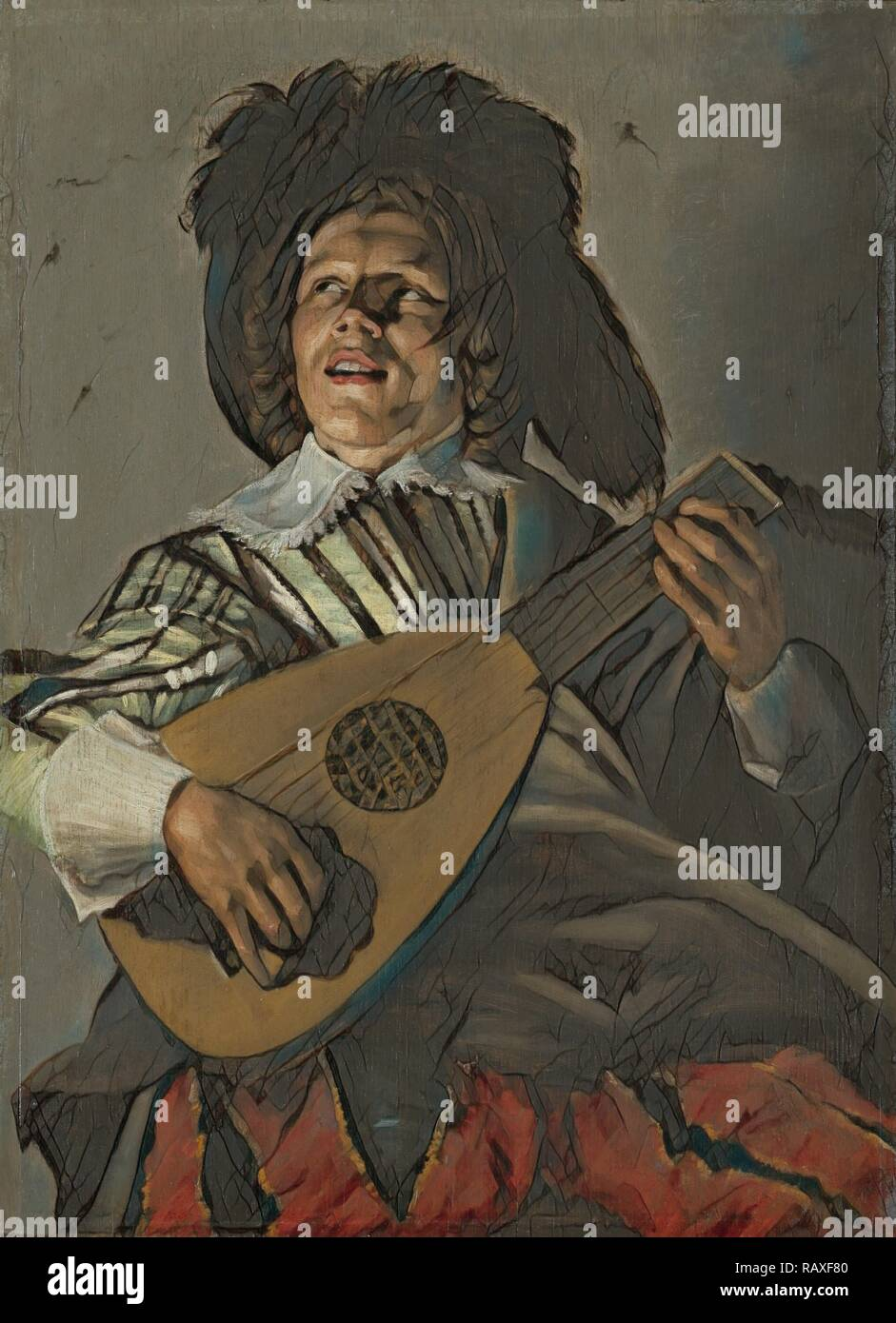 The Serenade, Judith Leyster, 1629. Reimagined by Gibon. Classic art with a modern twist reimagined - Stock Image