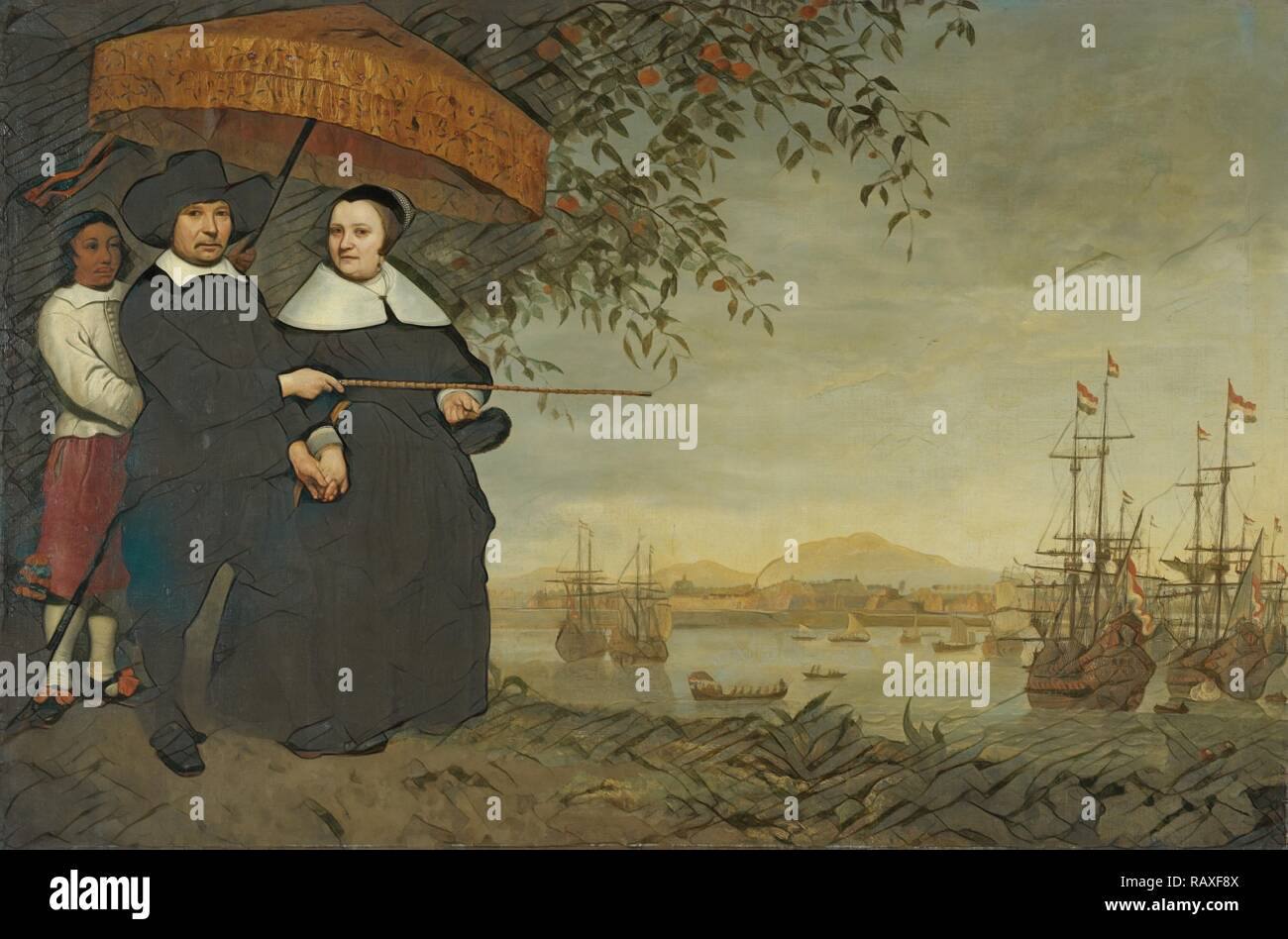 A Senior Merchant of the Dutch East India Company, Jacob Mathieusen and his Wife. Behind them, a Slave Holds a Pajong reimagined - Stock Image