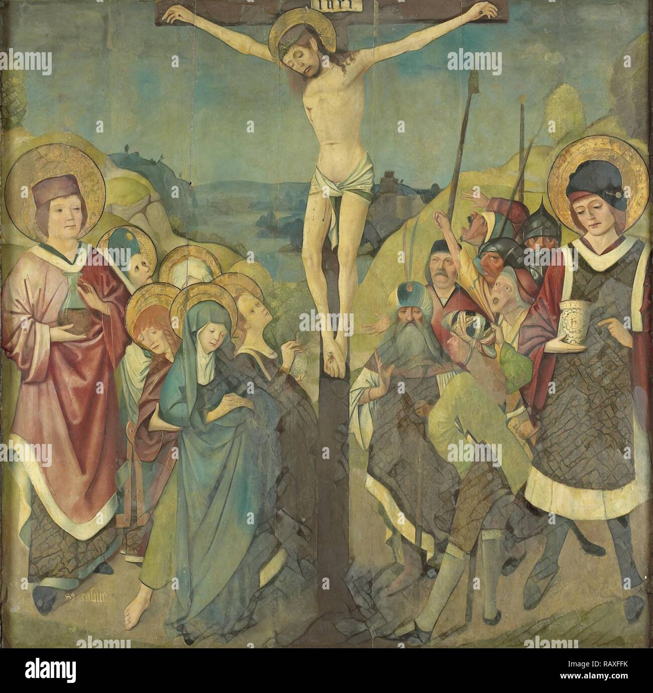 Crucifixion with Saints Cosmas and Damian, Anonymous, 1425 - 1449. Reimagined by Gibon. Classic art with a modern reimagined - Stock Image