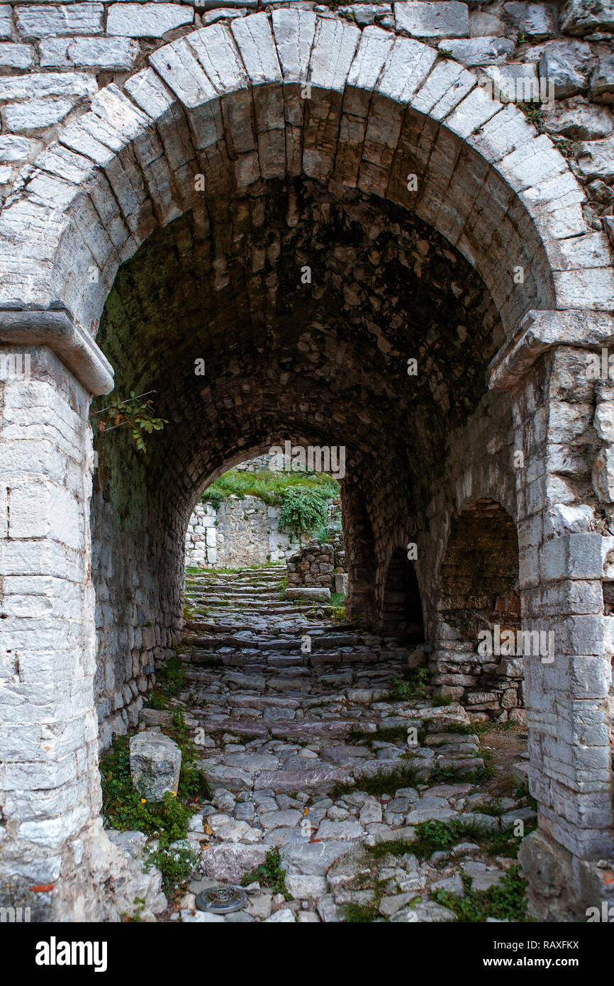Old arch in the ruined city of Stari Bar, Montenegro Stock Photo