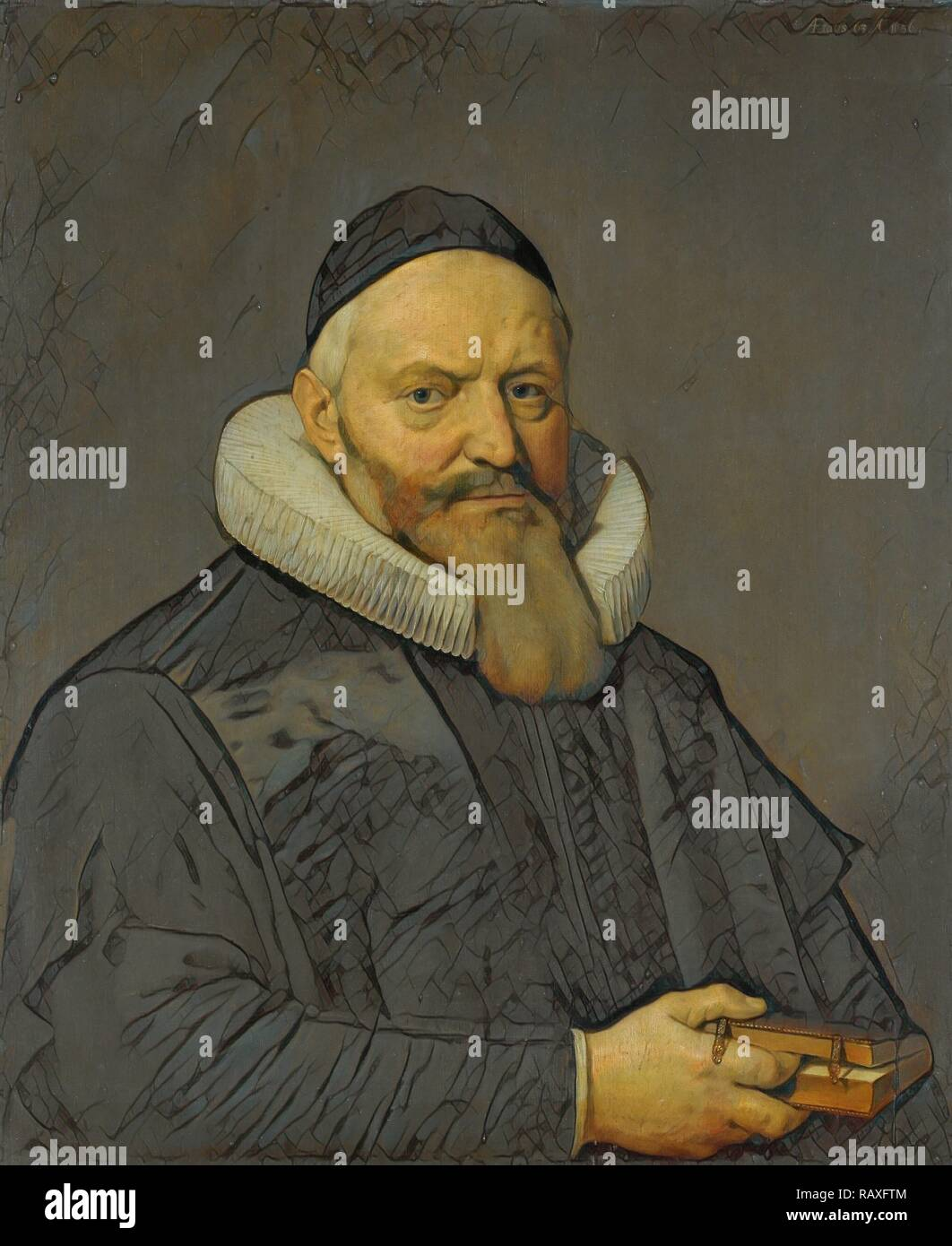 Portrait of Anthony de Wale, Professor of Theology in Leiden, The Netherlands, David Bailly, 1636. Reimagined - Stock Image