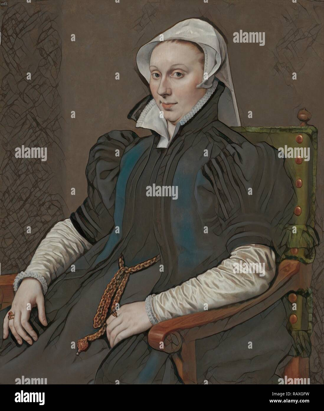Portraits of Sir Thomas Gresham and Anne Fernely, Anthonis Mor, c. 1560 - c. 1565. Reimagined by Gibon. Classic art reimagined - Stock Image